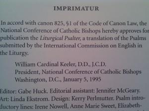 Imprimatur for the ICEL Psalter