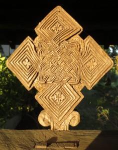 Cross in the meditation garden at Sky Farm