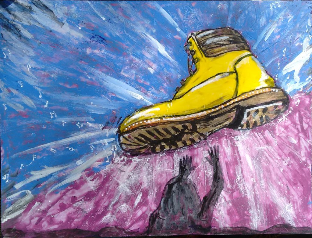 Painting of yellow boot, © Katarina Stenstedt